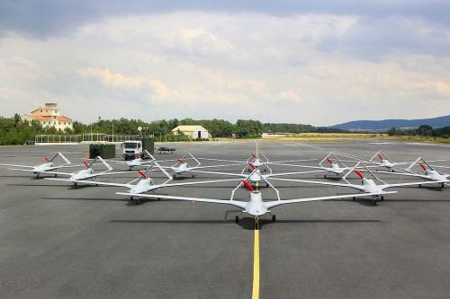 A fleet of Turkey's locally-made Bayraktar TB2 UAVs (drones) [Bayhaluk / Wikipedia]