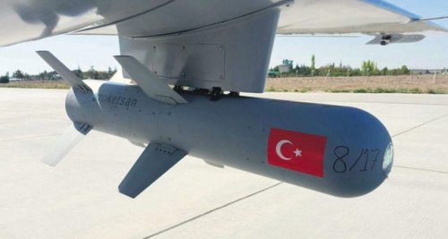 A MAM-L, 'smart ammunition' missile, is seen loaded on to a Turkish Bayraktar TB2 drone [Daily Sabah]