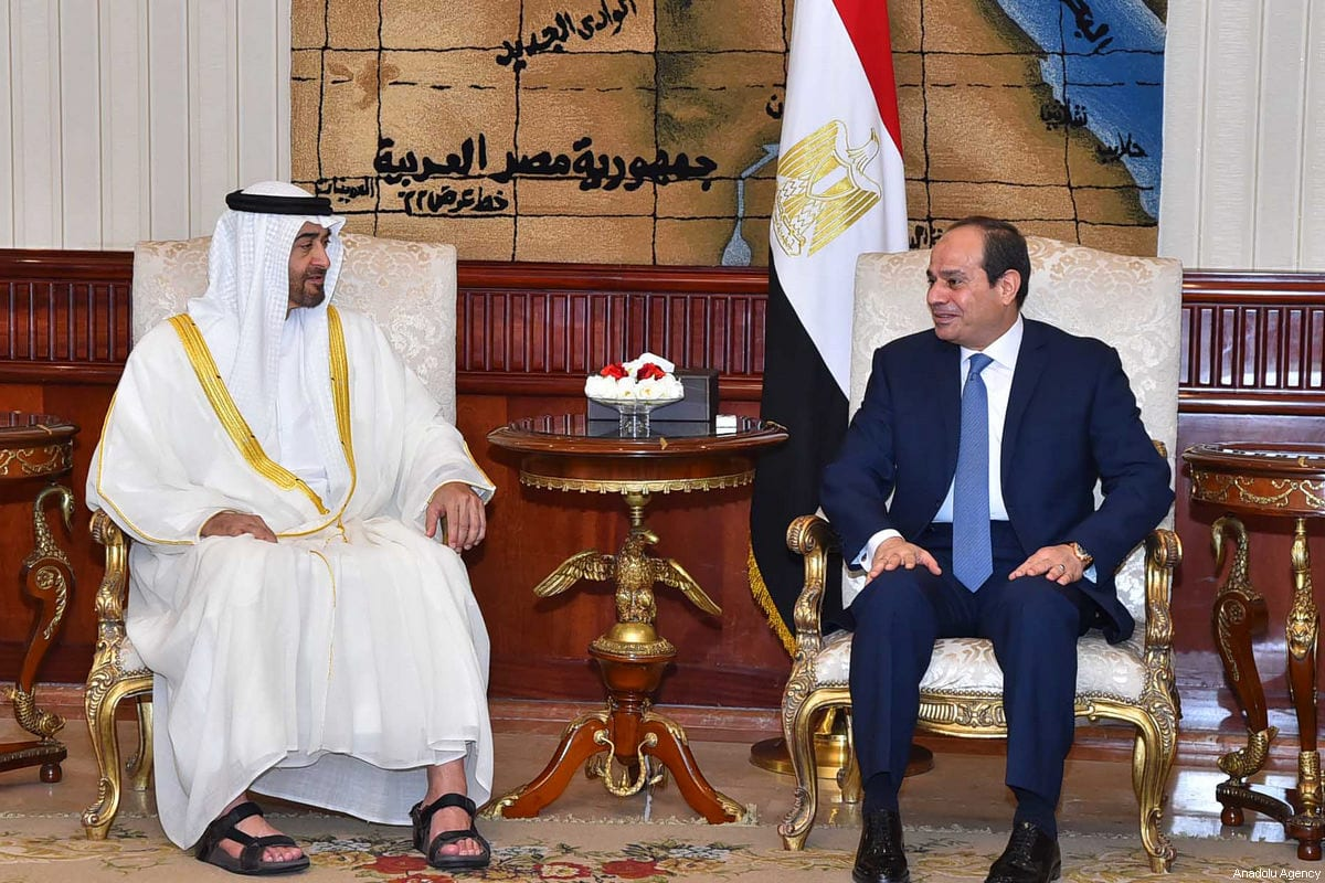 Crown Prince of Abu Dhabi Mohammed bin Zayed Al Nahyan (L) meets President of Egypt, Abdel Fattah el-Sisi (R) at the Heliopolis Palace in Cairo, Egypt on 19 June, 2017 [Egyptian Presidency Handout/Anadolu Agency]