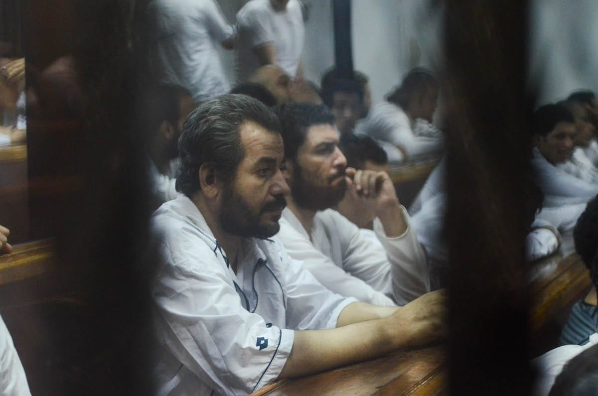 Defendants are seen during the summary judgement session of 'Cabinet Incidents' trial, chaired by Judge Nagy Shehata, at Cairo Criminal court in Cario, Egypt on 25 July, 2017 [Mostafa El Shemy/Anadolu Agency]