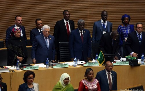 Palestinian President Mahmoud Abbas (L-2) and Chairperson of the African Union Commission Moussa Faki (C) attend the 29th African Union Summit in Addis Ababa, Ethiopia on 3 July, 2017 [Minasse Wondimu Hailu/Anadolu Agency]