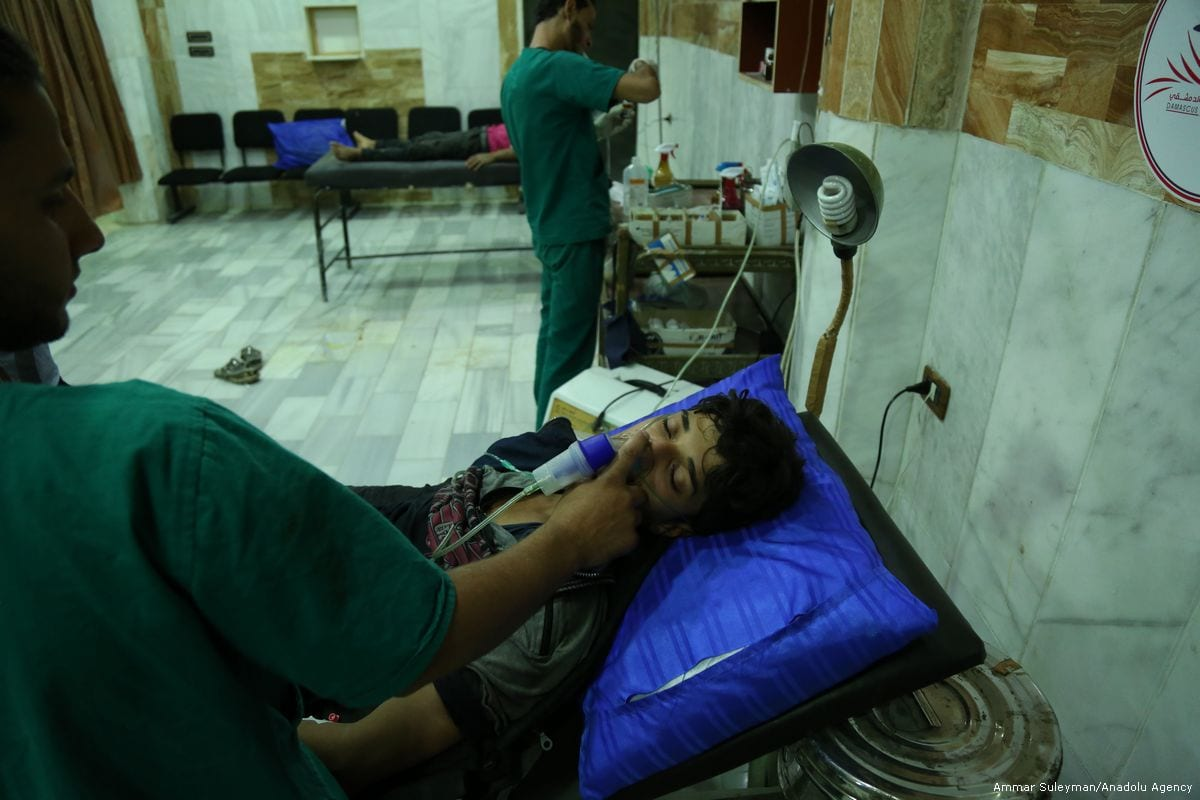 Syrians receive medical treatment after the Assad regime carried out a chemical gas attack in Damascus Syria on 13 July 2017
