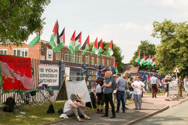 On the 3rd anniversary of Israel's assault on Gaza where over 2,000 civilians, including over 500 children, were killed, activists from around the UK shut down the Israeli death drone factory UAV Engines (Elbit Systems) near Lichfield.