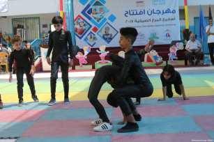 Gazan children seen at the opening ceremony of the 2017 'Summer Fun Weeks' programme by the UNRWA [Mohammed Asad / Middle East Monitor]