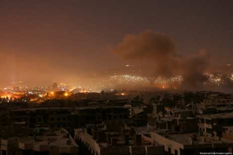 The Assad regime fails to abide by a ceasefire and carries out air and ground strikes over the Ein Tarma district in the Eastern Ghouta region of Damascus, Syria on 7 August 2017. [Muhammad Khair/ Anadolu Agency]