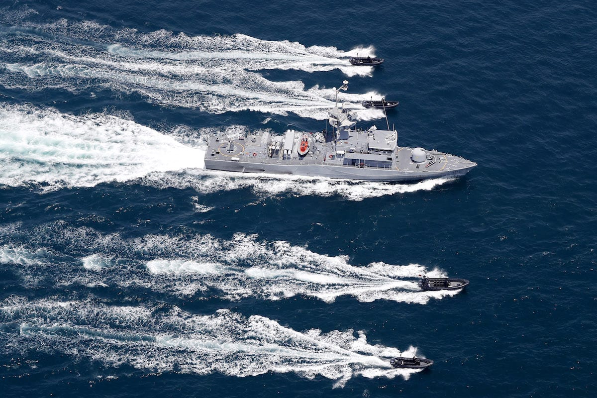 TCG Gokova Frigate, which belongs to the Turkish fleet command attends a joint military exercise between Turkey and Qatar in Doha, Qatar on 7 August, 2017 [Mohammed Farag/Anadolu Agency]