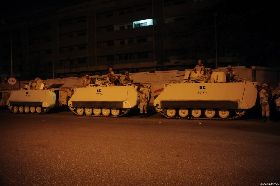 Egyptian army tanks deployed hours before the military coup in Madinet Nasr in Cairo, Egypt on 3 July 2013 [Mohammed Elshamy - Anadolu Agency]