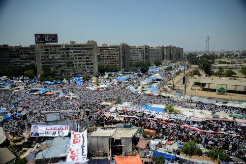 A file photo dated July 26, 2013 shows an aerial view of Rabia Adaweya Square where tens of thousands people protest against the military coup that removed Egyptian President Mohammed Morsi in Cairo, Egypt [Mohammed Elshamy / Anadolu Agency]
