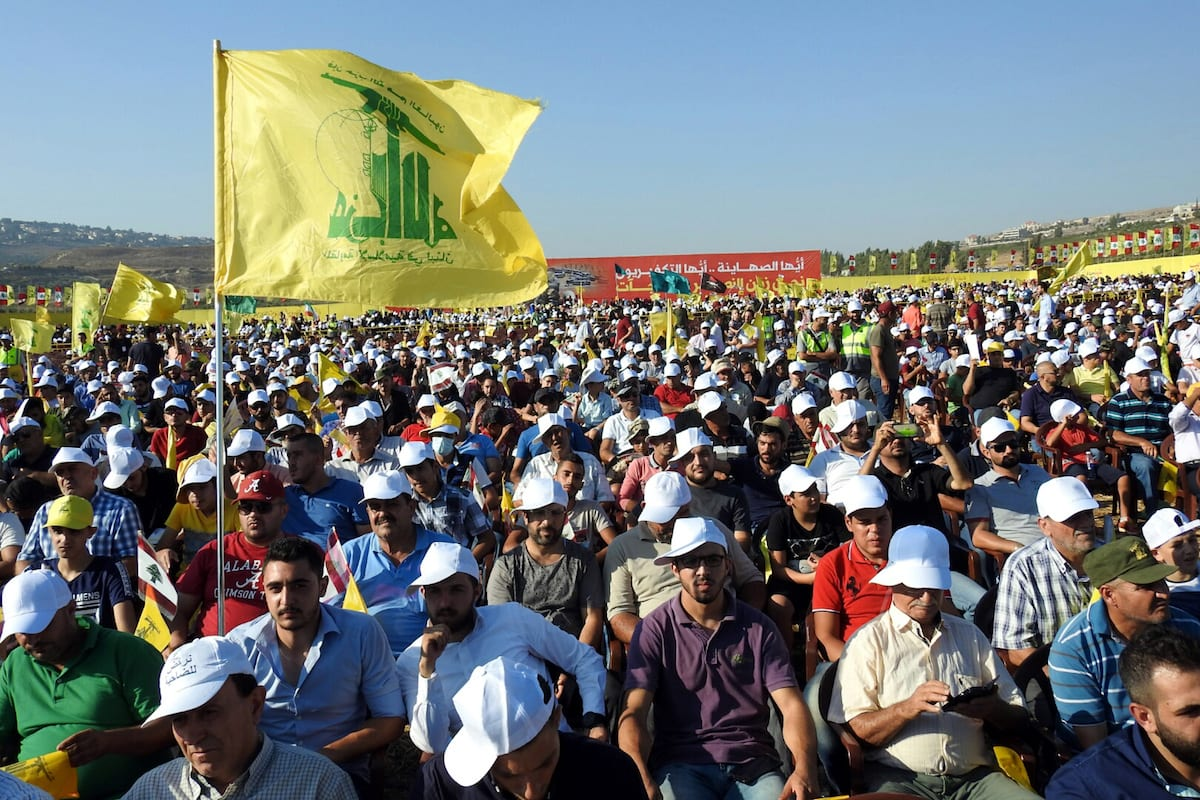 Supporters of the Lebanese Shia movement Hezbollah gather during a speech by Hassan Nasrallah, the Secretary-General of Hezbollah on 13 August 2017 [Ali Dia/Anadolu Agency]