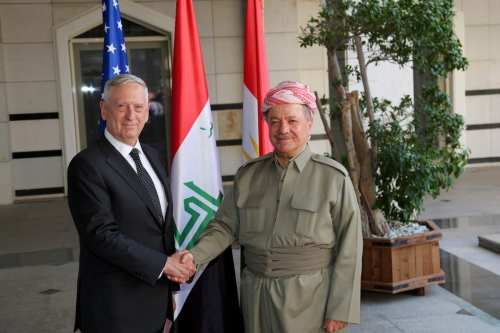 President of Iraqi Kurdish Regional Government (IKRG) Masoud Barzani (R) welcomes Secretary of Defense Minister James Mattis (L) in Erbil, Iraq on 22 August, 2017 [Yunus Keleş/Anadolu Agency]