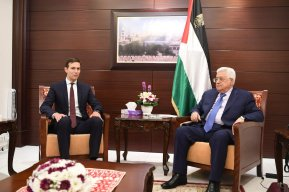 US presidential adviser Jared Kushner (L) meets with President of Palestine, Mahmoud Abbas (R) at Presidential Residence due to Kushner's official visit in Ramallah, West Bank on August 24, 2017. ( Palestinian Presidency - Handout - Anadolu Agency )