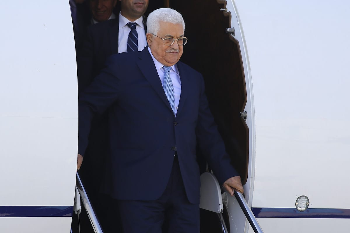President of Palestine, Mahmoud Abbas arrives at Esenboga International Airport due to his official visit in Ankara, Turkey on 27 August, 2017 [Gökhan Balcı/Anadolu Agency]