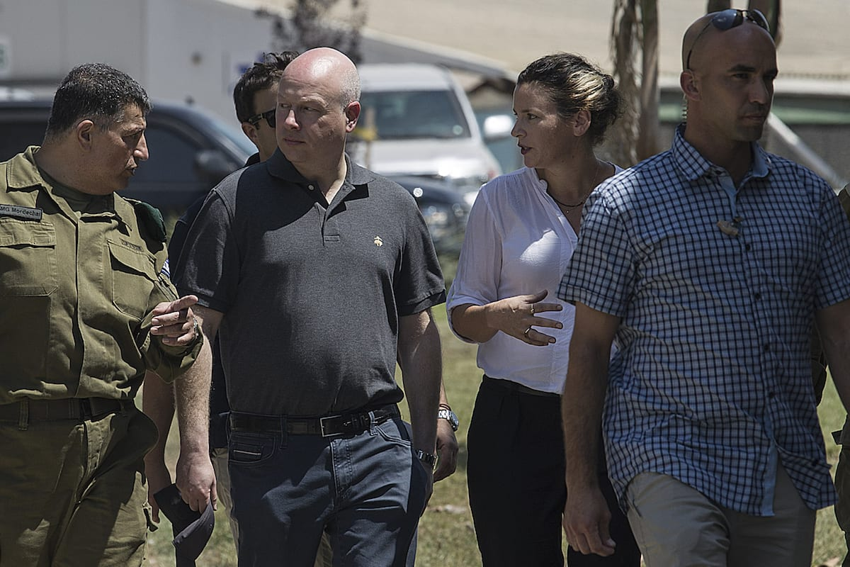US President Donald Trump's Assistant and Special Envoy for International Negotiations, Jason Greenblatt (2nd L) visits Nahal Oz military base near the Gaza and Israel border on 30 August 2017 [Stringer/Anadolu Agency]