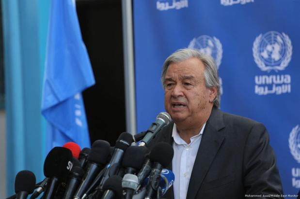United Nations Secretary-General Antonio Guterres in Gaza on 30 August 2017