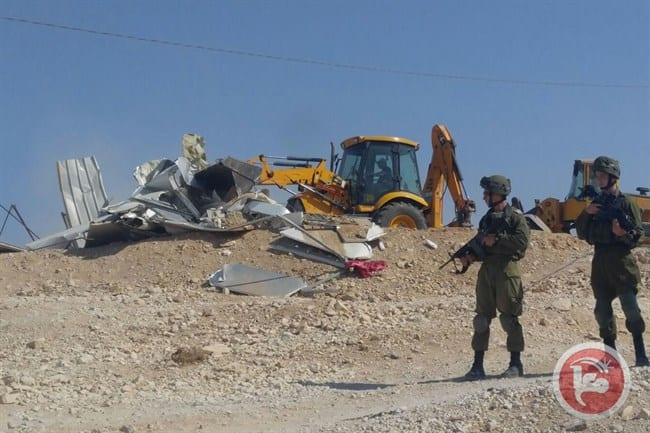 Israeli forces demolish EU-funded homes in southern West Bank Bedouin village [Maannews]
