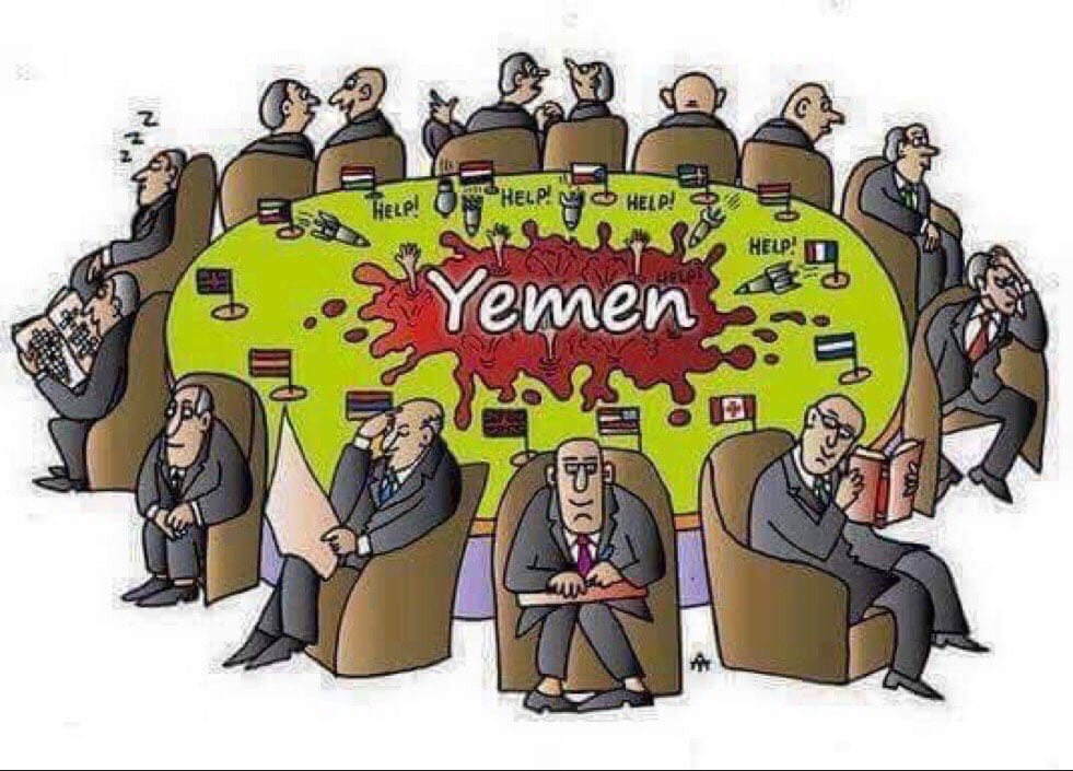 Nobody cares about Yemen [Yemen Post Newspaper‏ Cartoon/Twitter]