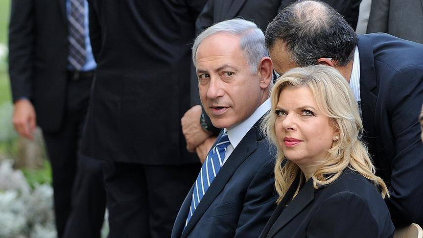 Israeli prime minister Benjamin Netanyahu seen with his wife Sara Netanyahu