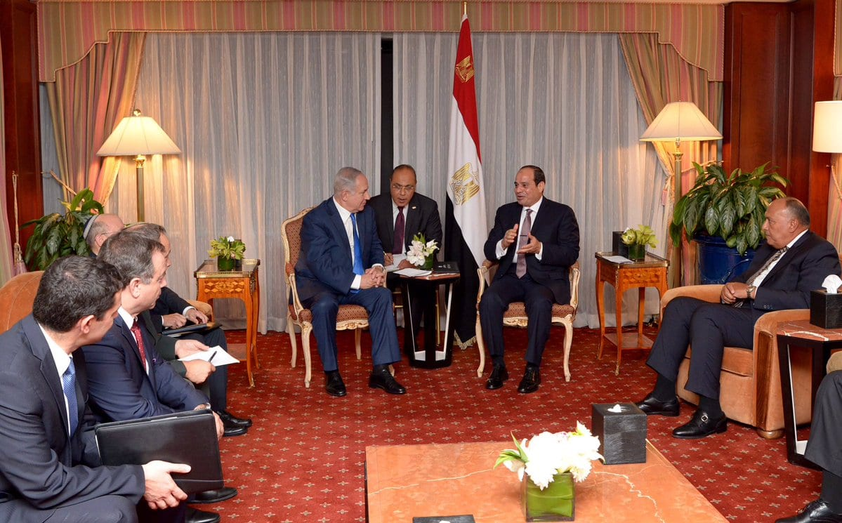 Sisi and Netanyahu meet in New York 18 September 2017 [thenewkhalij]