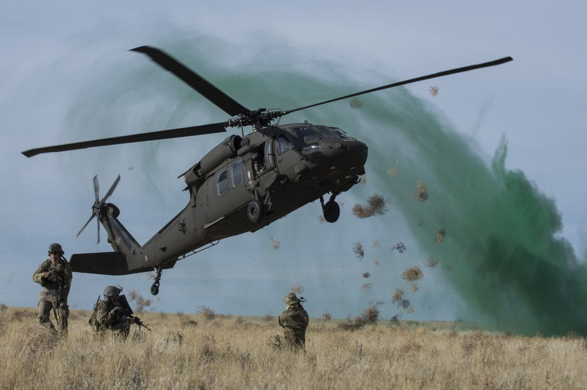 A UH-60 Black Hawk seen during a training excercise on November 6, 2014, at Sailor Creek Range Complex, Idaho [Staff Sgt. Roy Lynch / US Air Force]