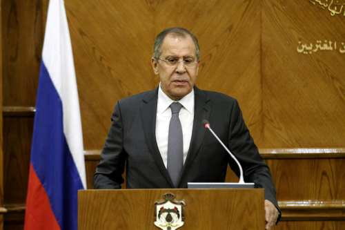 Russian Foreign Affairs Minister Sergei Lavrov attends a press conference on 11 September, 2017 [Shadi Nsoor/Anadolu Agency]