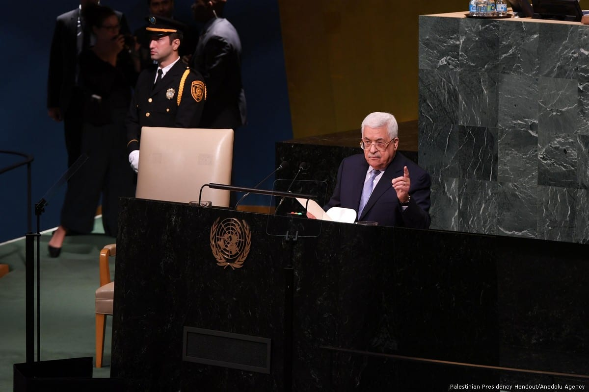 Palestinian President Mahmoud Abbas delivers a speech during the 72nd Session of the UN General Assembly in New York, on 20 September, 2017 [Palestinian Presidency Handout/Anadolu Agency]
