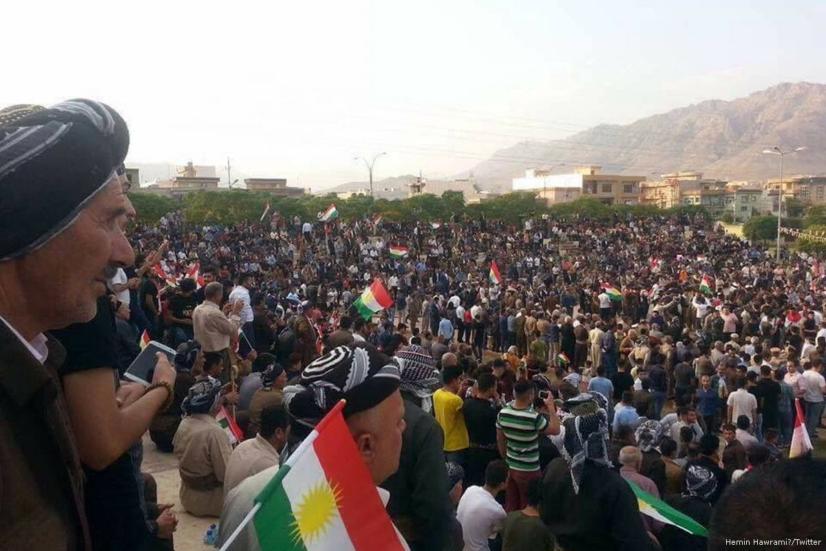 Image of a support rally for Kurdish independence ahead of the Kurdish referendum [Hemin Hawrami/Twitter]
