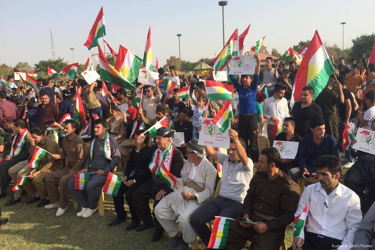 A support rally for Kurdish independence ahead of the Kurdish referendum on 21 September 2017 [Rudaw English/Twitter]