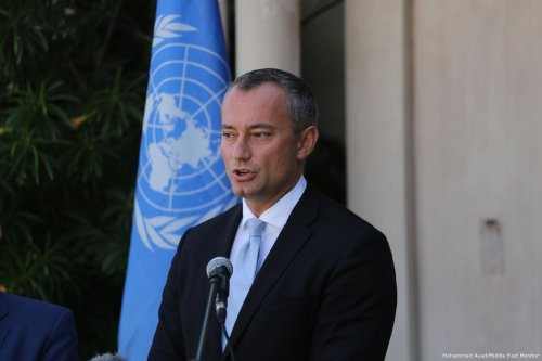 UN Special Coordinator for the Middle East Peace Process, Nikolay Mladenov attends a press conference in Gaza on 25 September 2017 [Mohammed Asad/Middle East Monitor]