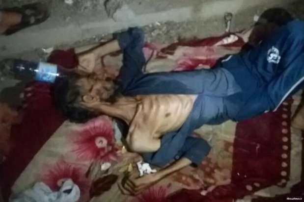 A man passed out after he took drugs. There is a crack epidemic which is devastating the poverty-stricken Arab Al-Ahwaz region of Iran [KhouzNews.ir]