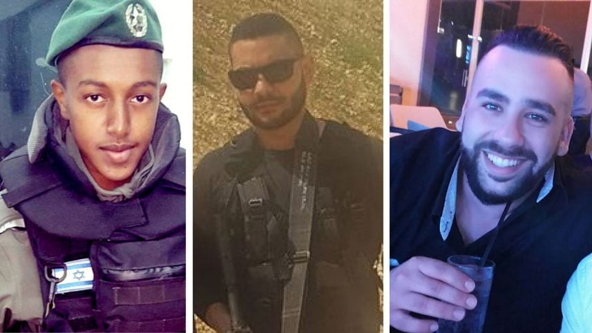 Israeli Border Police and security guards, from Left to Right: First Sgt. Solomon Gabariya, Yussef Utman and Or Arish