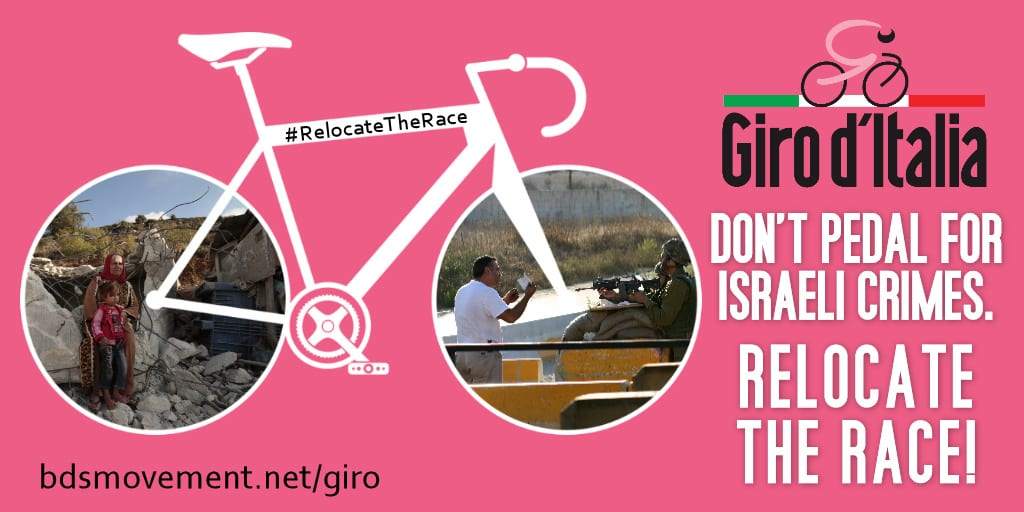 A meme urging the famed cycling race Giro d'Italia to relocate the start of its 2018 race from Israel