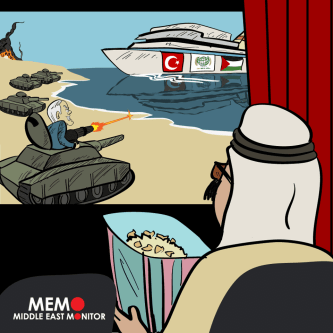 Saudi watches as Gaza burns - Cartoon [MiddleEastMonitor]