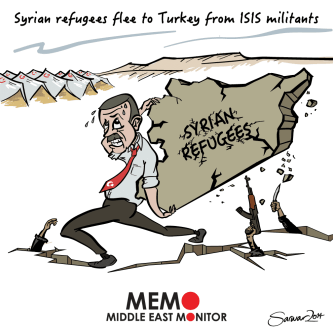Turkey has been one of the main country which has been welcoming Syrian refugees - Cartoon [MiddleEastMonitor]