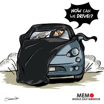 Saudi women can drive - Cartoon [Sarwar Ahmed/MiddleEastMonitor]