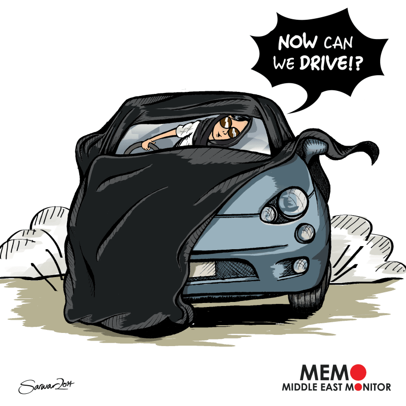Saudi women can drive - Cartoon [Sarwar Ahmed/MiddleEastMonitor]