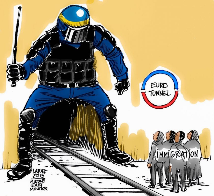 Migrants at the EuroTunnel - Cartoon [Latuff/MiddleEastMonitor]
