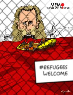 Syrian Refugees Fleeing Assad - Cartoon [Sarwar Ahmed/MiddleEastMonitor]