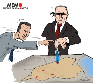 Putin blindly bombs Syria - Cartoon [Sarwar Ahmed/MiddleEastMonitor]