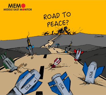 Road to Peace - Cartoon [Sarwar Ahmed/MiddleEastMonitor]
