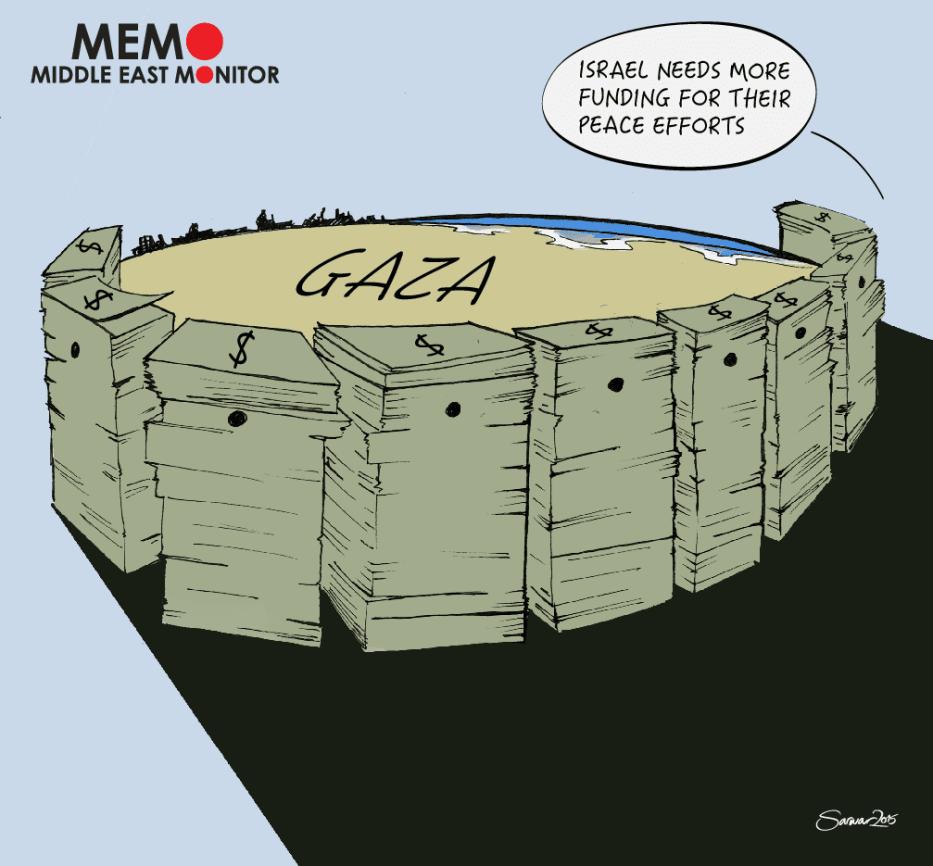 Funding for Peace - Cartoon [Sarwar Ahmed/MiddleEastMonitor]
