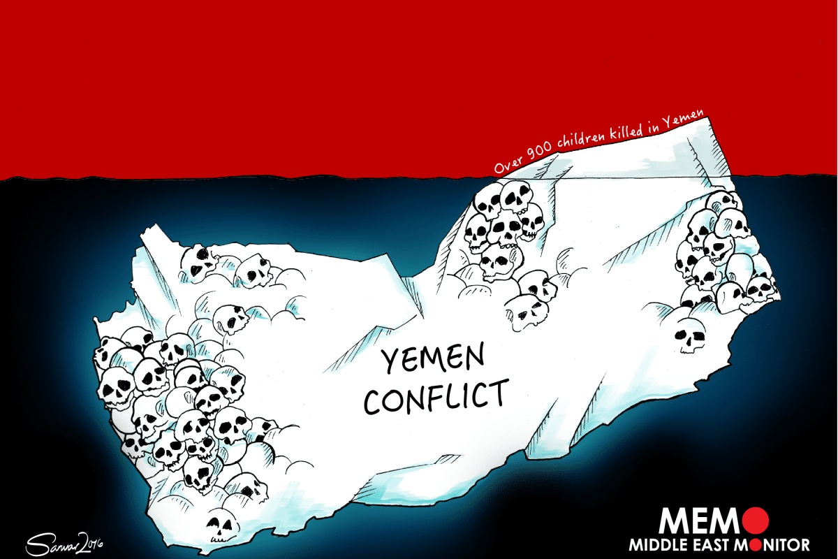 Deaths in Yemen Conflict - Cartoon [Sarwar Ahmed/MiddleEastMonitor]