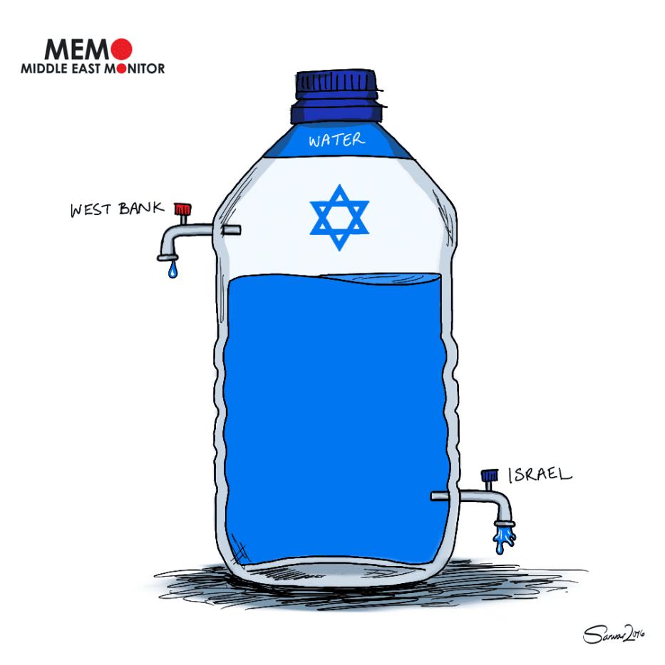 Settlements stealing Palestinian water - Cartoon [Sarwar Ahmed/MiddleEastMonitor]