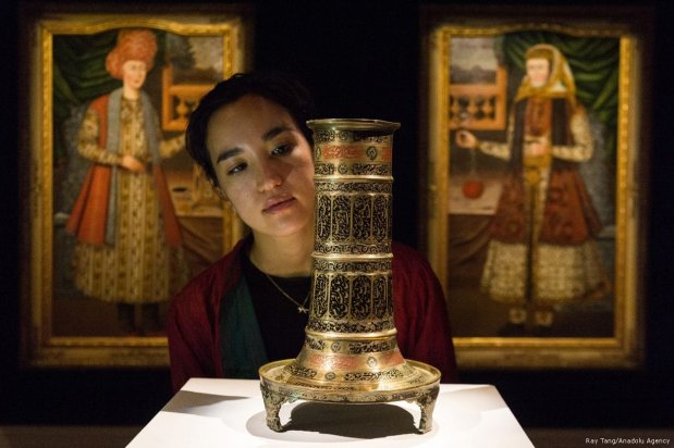 A Safavid Polychrome brass torch-stand, Persia, late 16th/17th century (est. £8,000-£12,000) is showing at the press view of Modern and Contemporary Middle Eastern Art Sale in London, England on 20 October 2017 [Ray Tang/Anadolu Agency]