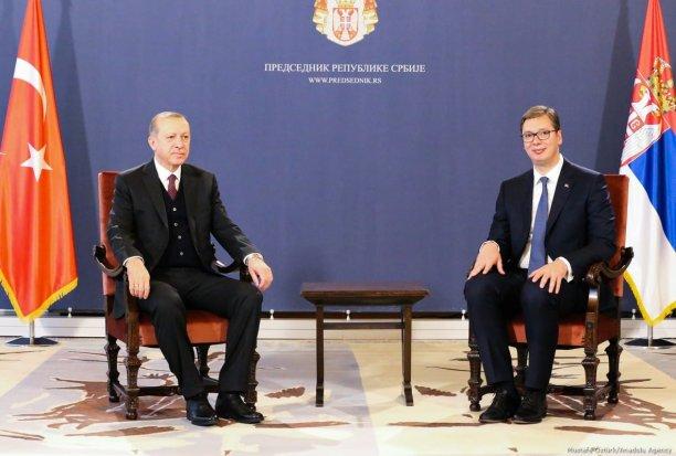 President of Turkey Recep Tayyip Erdogan (L) meets with President of Serbia Aleksandar Vucic (R) after an official welcoming ceremony at the Palace of Serbia in Belgrade, Serbia on 10 October, 2017 [Mustafa Öztürk/Anadolu Agency]