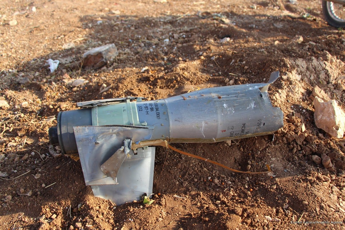 A piece of missile is seen after Assad regime's airstrikes hit the town of Khan Shaykhun in Idlib in Syria on 11 October, 2017 [Eymen Karaca/Anadolu Agency]