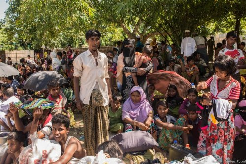 Rohingyas fleeing Myanmar, heading to Bangladesh on 10 October, 2017 [Stefanie Glinski/Thomson Reuters Foundation]