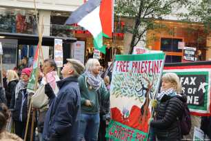 Londoners mark 100 years since Balfour Declaration in a protest to recognise the on-going oppression of Palestinians and calling for an apology from the British government, in London on November 4, 2017