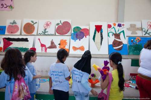 Art work made by children is put on display in Rashidieh refugee camp, the largest Palestinian refugee camp in Tyre, Lebanon