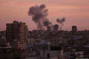 Israel targets a site in the besieged Gaza Strip on 30 November 2017. [Mohammed Asad/ Middle East Monitor]