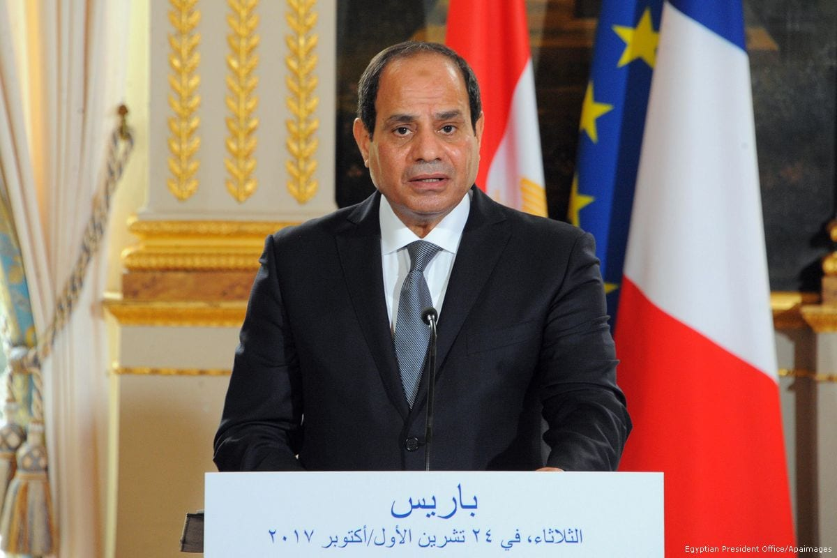 Egyptian President Abdel Fattah Al-Sisi during press conference at the Elysee Palace on 24 October 2017 [Egyptian President Office/Apaimages]